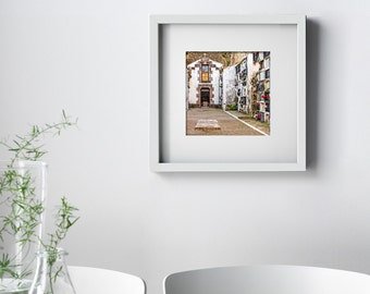 Fine Art Print, Whitewashed Cemetery Columbarium Wall and Crypt, Comillas, Spain