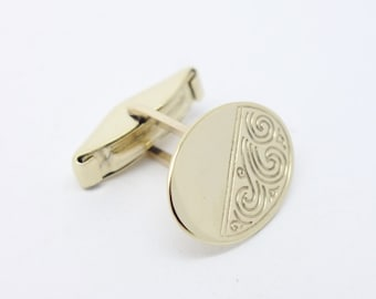 Cufflinks - 9ct Yellow Gold - Oval - Partially Engraved