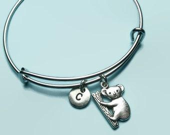 Koala bear charm bangle bracelet, koala charm bracelet, personalised initial bangle, letter, personalised charm, charm bracelet, Australia