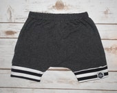Baby Harem Shorts, Toddler Harem Shorts - Gray with Striped Cuffs