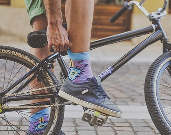 Aztec print socks, aztec eye, african sprinkle socks, arty socks, fashion socks for men, geometric socks, women's sprinkle socks, violet