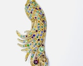 """Vintage Large Peacock Brooch 5"""" TALL"""