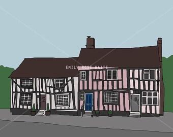 Medieval Houses - Mini Print / Postcard - Digital Illustration Art Print