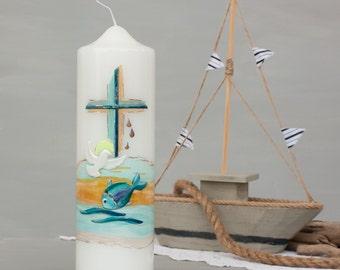 Candle Dove fish cross, christening gift, christening, christening for young girls, gift sponsors, handmade, wax decor E552