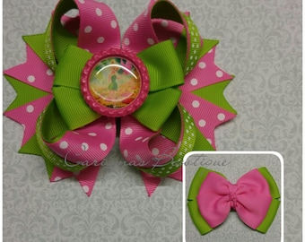 READY TO SHIP-Tinkerbell Hair Bow-Tinkerbell bow-Disney Hair Bow-Boutique Bow