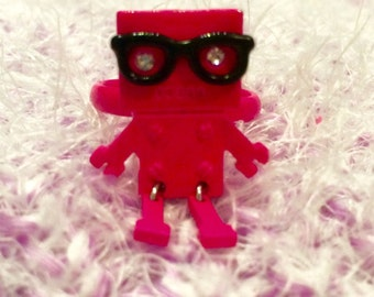 Hipster Robot in Neon Pink Adjustable One of a Kind Statement Ring