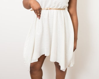 White Sequins Flair Dress