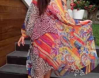 Silk chiffon kaftan