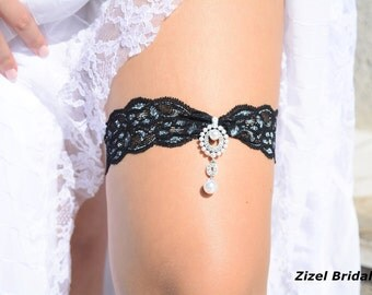 Black Silver Garter, Garter Set, Lace Garter, Bridal Garter, Rhinestone Garter, Black Bridal Garter, Handmade Garter, Black Garter Set, Gift