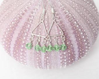 Peridot Earrings - August Birthstone Earrings - Peridot Dangle Earrings - Birthstone Earrings - Crystal Earrings - Peridot Birthstone