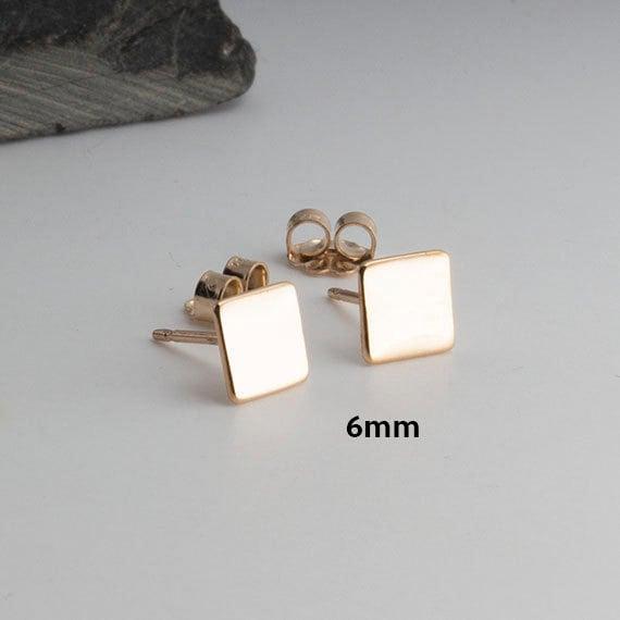 Square Gold Studs Minimalist Earrings Flat Earrings Square