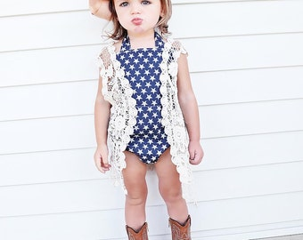 Country Chic Romper, Toddler Girls Romper, Girls Playsuit, sunsuit, Baby Romper