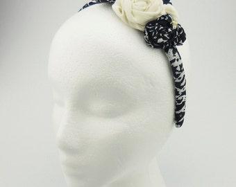 Headband (ivory, black, pearl beads)