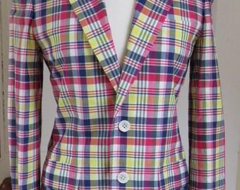 Vintage Ralph Lauren Summer Check Blazer Jacket - Size 12 UK