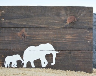 """Mother & Baby Elephant Silhouette – Reclaimed Wood ~ 17""""x11"""""""