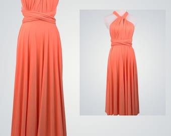 Coral Bridesmaid Dress,Infinity Wrap Dress,Knee/Floor Length Convertible Dress,Party Dress,Coral Dress,Cocktail Dress,Elegant Evening Dress