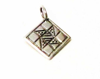 FRIENDSHIP STAR Quilt Charm, Quilt Necklace Pendant, Sterling Silver Charms, Quilting Gifts, Quilt Jewelry, Quilt Patterns, Quilt Squares