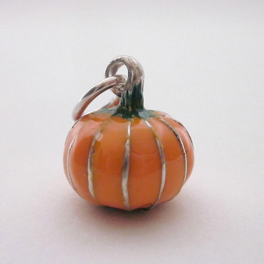 pumpkin charm pumpkin necklace pendant sterling silver