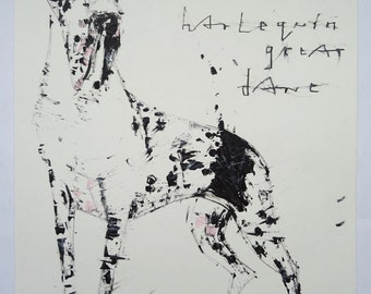 Jackson Pollock the Harlequin Great Dane Dog, original drawing on paper by Andy Shaw