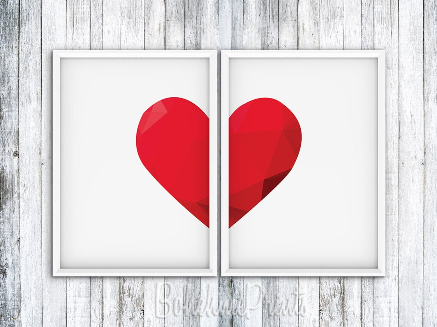 Wall Art Love Heart : Art print set wall heart decor love home