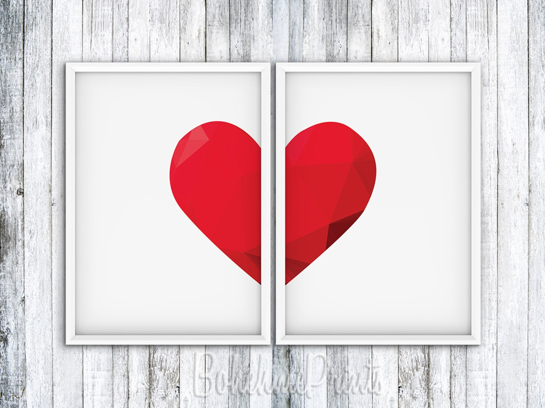 Wall Art Love Hearts : Art print set wall heart decor love home