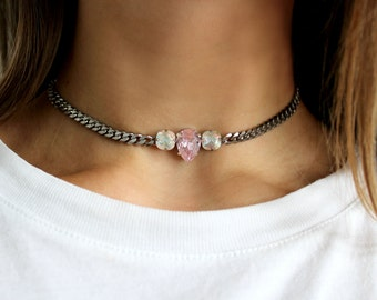 Triple Crystal Choker - Stainless Steel, Swarovski, Curb Chain
