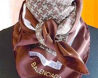 BALENCIAGA Silk Scarf, Vintage 70's, Brown, Blue, Luxury French Haute Couture, High Fashion, Gift Idea,  Free Shipping