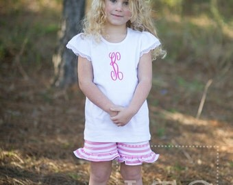 Girls White Flutter Sleeve shirt with Lace - Monogram Included