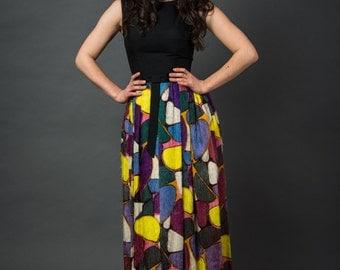 1960s Print Dress,Full Skirt