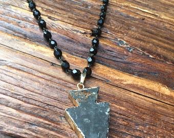Druzy Natural Agate Arrowhead Necklace