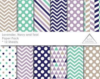 Lavender, Navy and Teal Paper Pack Digital Paper, beige, Polkadot, Chevron, Stripes, Triangles, small commercial use, jpeg, pastel, easter