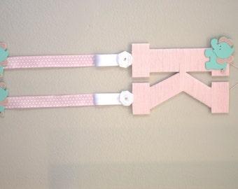 Nursery Letter, Pink Yarn Wrapped Letter K, Mint Elephant, Baby Door Hanger, Girl Room Wall Letter, Playroom Decor, Hanging Wall Letter