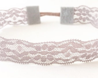 Lavender lilac light purple lace stretchy baby toddler headband