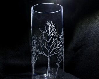 Birch tree vase, engraved vase, etched vase, etched birch tree, birch tree gifts