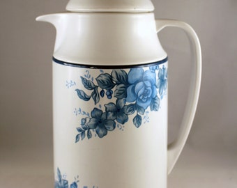 Vintage Corning Thermique with Blue Velvet Rose Pattern, Pitcher/Carafe