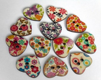 12 Heart shape flower printed wooden buttons #EB61