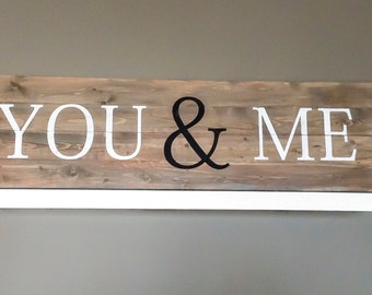 Wood Bedroom Decor, Wood You and Me Sign, Romantic Wall Art, You and Me Wood Sign 14x48""