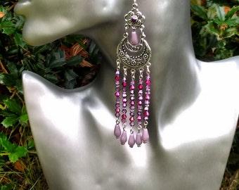 Bohemian Chandelier Earrings, Crystal Earrings, Lilac Earrings Pink Earrings, Gypsy Earrings, SALE EARRINGS