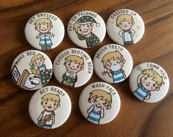 "KIDS PERSONAL Chore Magnets (BOY), 1 set = 9 pcs, Customizable chore magnets, 1.25"" 32mm, cute chore magnets, chore chart magnets"