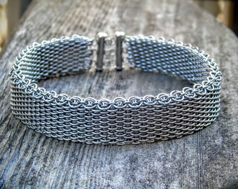 Dragonscale Choker Necklace | Stainless Steel Armored Collar Necklace | One-of-a-Kind Handmade Chainmaille Jewellery