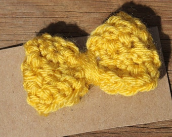 Crocheted Mustard Yellow 2in Bow