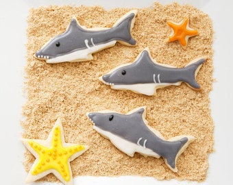 "Shark Sugar Cookies 4"" / Shark Week Sugar Cookies/ Shark Party Favors"