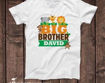 Safari Jungle Big Brother Shirt - Brother of the Birthday Boy Shirt - Personalized Big Brother T Shirt - Safari Animals Birthday Shirt Lion