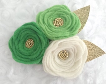 Green- 3 flower headband