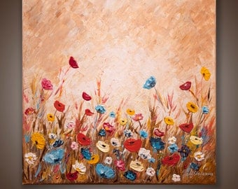 Floral Art Original Abstract Acrylic Painting Brown Painting Palette Knife Heavy Texture