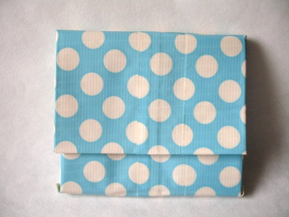 Accordion Duct Tape Wallet Polka Dot Blue By Kelseysducttape