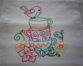 Stacked Cups with Perching Bird Embroidered Flour Sack Towel, Stacked Cups with Perching Bird Towel, Tea Cup Towel, Bird Towel