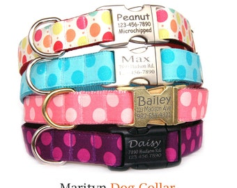 Personalized dog collar Dog ID tag metal buckle collar Laser engraved buckle dog collar Polka dots pink turquoise purple red cute dog collar