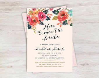 Floral Bridal Shower Invitation - Bridal Shower - Wedding Invitation - Unique Invitations - Printable bridal shower invitation