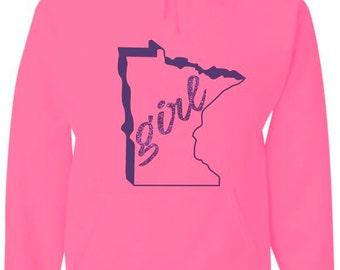 Neon pink Minnesota girl Hood Sweatshirt / minnesota sweatshirts / Minnesota hoodies